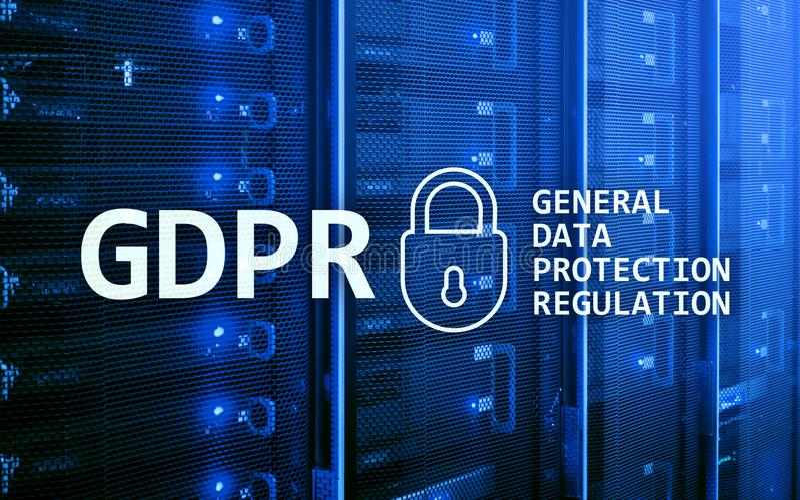 GDPR,一般数据保护章程服从 服务器室背景 免版税库存照片