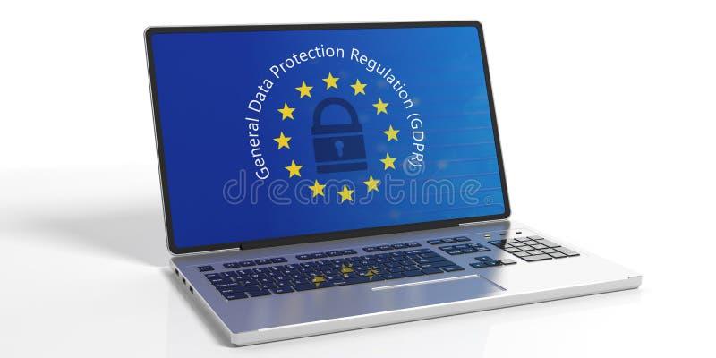 GDPR,欧洲 一般数据在白色背景隔绝的膝上型计算机屏幕上的保护章程 3d例证 库存例证