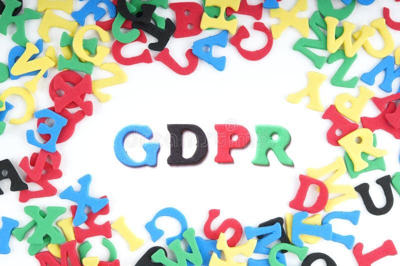 GDPR é a abreviatura para o regulamento geral da proteção de dados imagem de stock