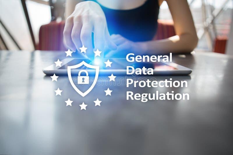 GDPR Överensstämmelse för reglering för generaldataskydd, europeisk informationssäkerhetslag royaltyfria bilder