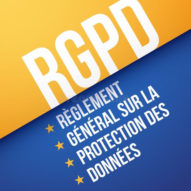 GDPR, γενικός κανονισμός προστασίας δεδομένων, στα γαλλικά: RGPD ελεύθερη απεικόνιση δικαιώματος
