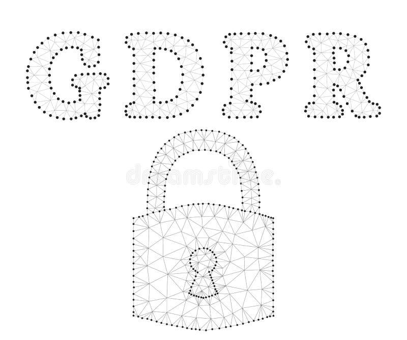 GDPR, επιστολές, πολύγωνο, μαύρος-λευκό διανυσματική απεικόνιση