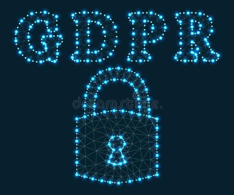 GDPR, επιστολές, πολύγωνο, πράσινα 2 διανυσματική απεικόνιση