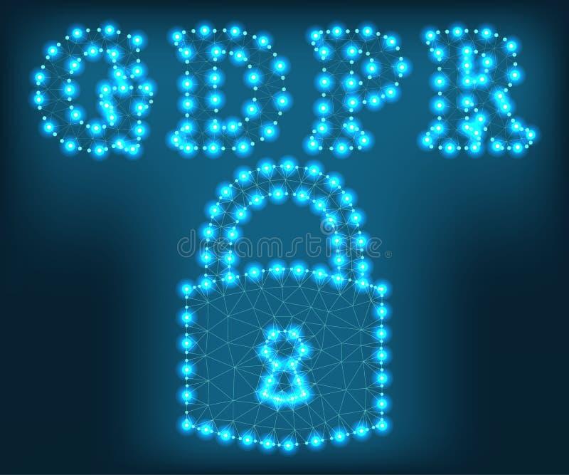 GDPR, επιστολές, πολύγωνο, πράσινο 1 διανυσματική απεικόνιση