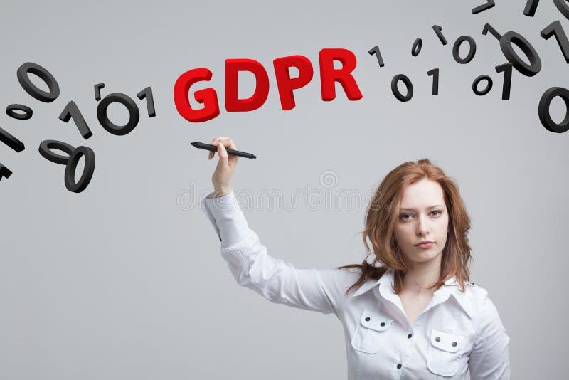 GDPR, изображение концепции Общая регулировка защиты данных, защита личных данных Молодая женщина работая с стоковое фото rf