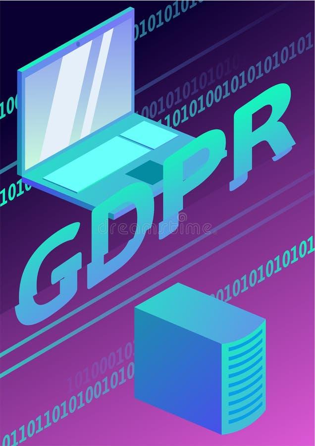 GDPR, иллюстрация концепции Общая регулировка защиты данных Защита личных данных Плакат вектора иллюстрация штока