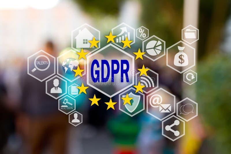 GDPR Общая регулировка защиты данных на экране касания на предпосылке людей нерезкости Концепция осведомленности GDPR стоковая фотография rf