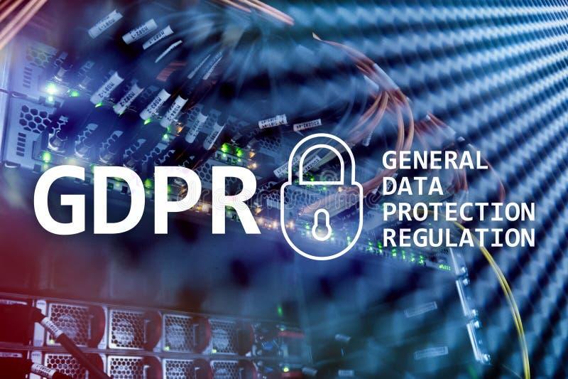 GDPR, общее соответствие регулировки защиты данных Предпосылка комнаты сервера иллюстрация вектора