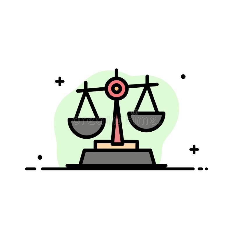 Gdpr, правосудие, закон, линия дела баланса плоская заполнило шаблон знамени вектора значка иллюстрация штока
