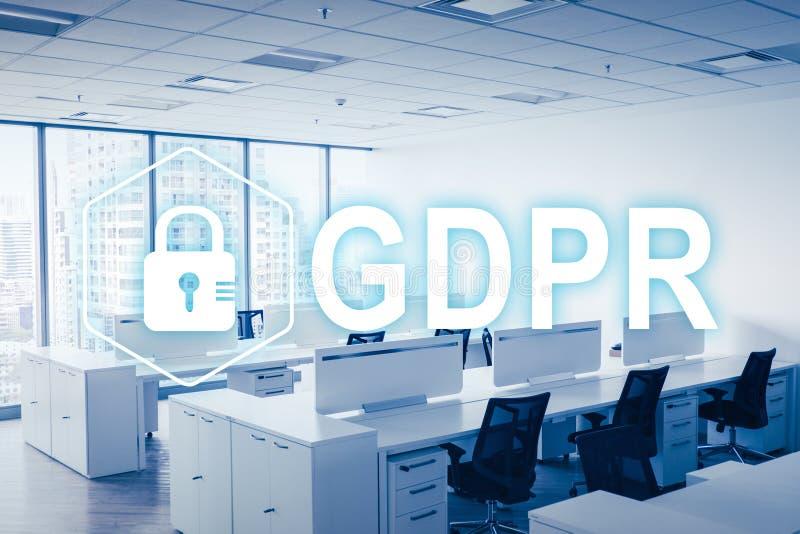 GDPR Регулировка защиты данных Безопасность кибер и концепция уединения стоковое фото