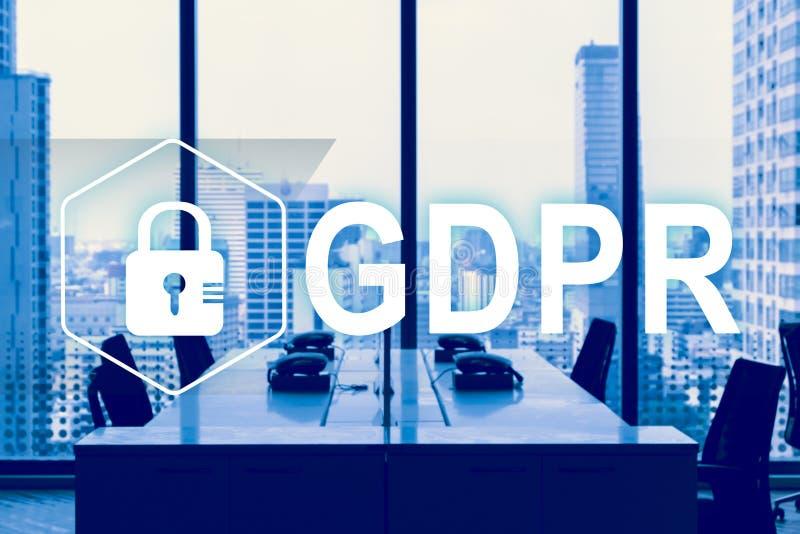 GDPR Регулировка защиты данных Безопасность кибер и концепция уединения стоковая фотография
