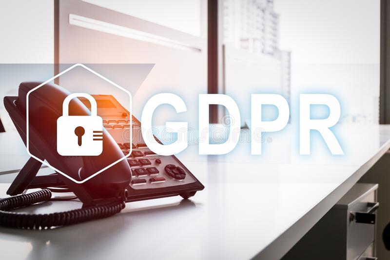 GDPR Регулировка защиты данных Безопасность кибер и концепция уединения стоковая фотография rf