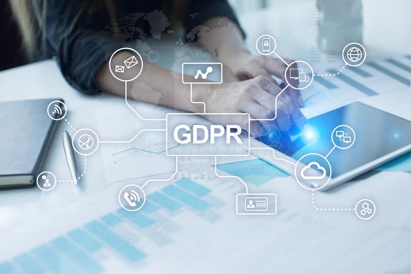 GDPR 一般数据保护章程服从,欧洲信息保障法律 库存图片