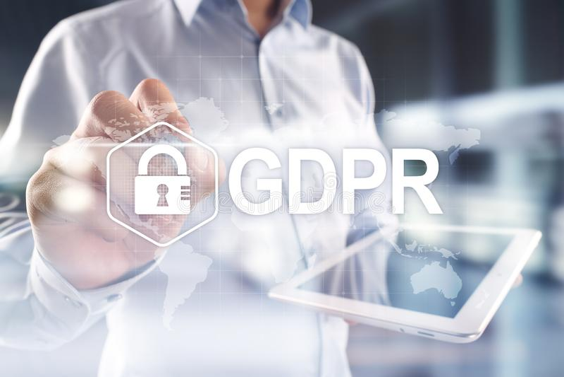 GDPR 一般数据保护章程服从,欧洲信息保障法律 库存照片