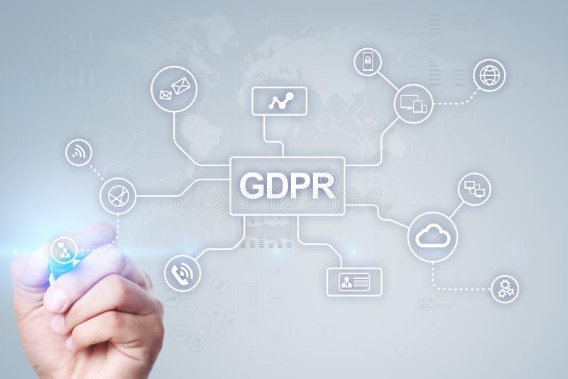 GDPR 一般数据保护章程服从,欧洲信息保障法律 免版税库存图片