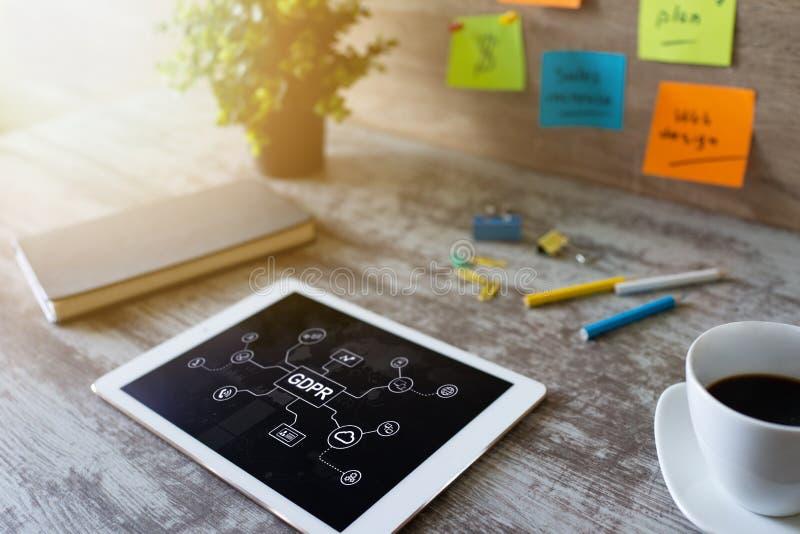 GDPR -一般数据保护章程法律 事务和互联网概念在屏幕上 图库摄影