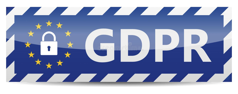 GDPR -一般数据保护章程 与欧盟星的横幅 库存例证