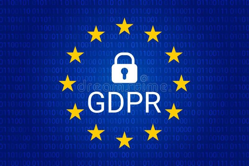 GDPR -一般数据保护章程 向量 库存例证