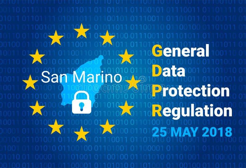 GDPR -一般数据保护章程 圣马力诺地图,欧盟下垂 向量 库存例证
