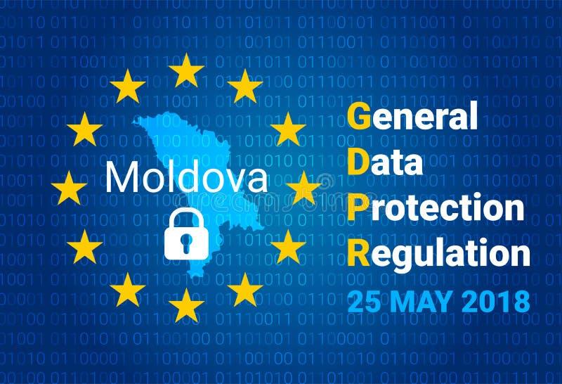 GDPR -一般数据保护章程 摩尔多瓦,欧盟地图下垂 向量 皇族释放例证