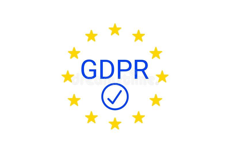 GDPR -一般数据保护章程 欧盟服从标志 向量 皇族释放例证