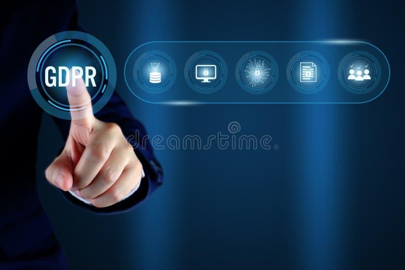 GDPR 与线象的一般数据保护章程概念 向量例证