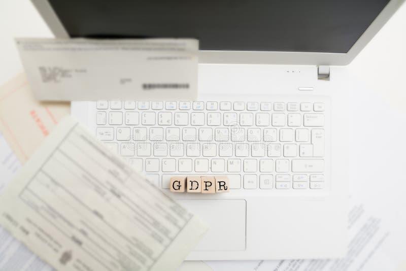 GDPR 数据保护章程,在网上和网络安全 免版税库存照片