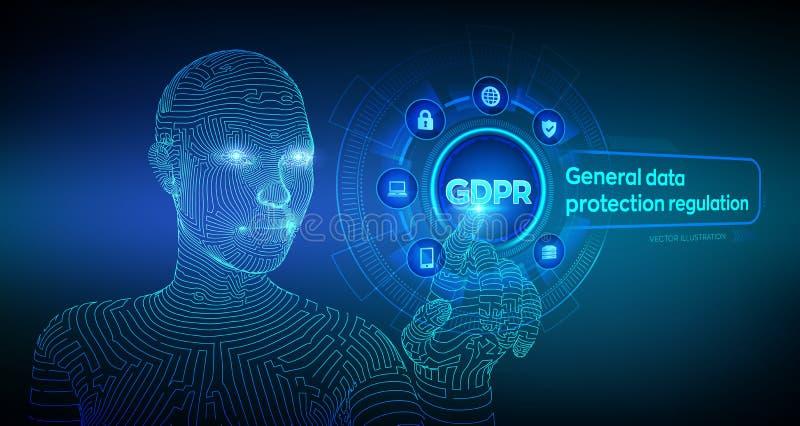 GDPR ( 网络安全和保密性概念在虚屏上 个人信息的保护 皇族释放例证