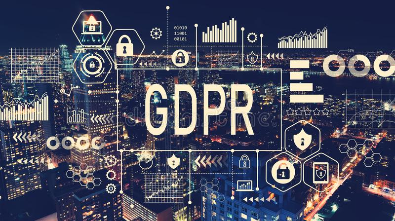 GDPR with aerial view of Manhattan, NY royalty free stock photo