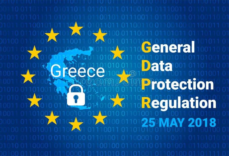 GDPR - Algemene Gegevensbeschermingverordening Kaart van Griekenland, de EU-vlag Vector vector illustratie