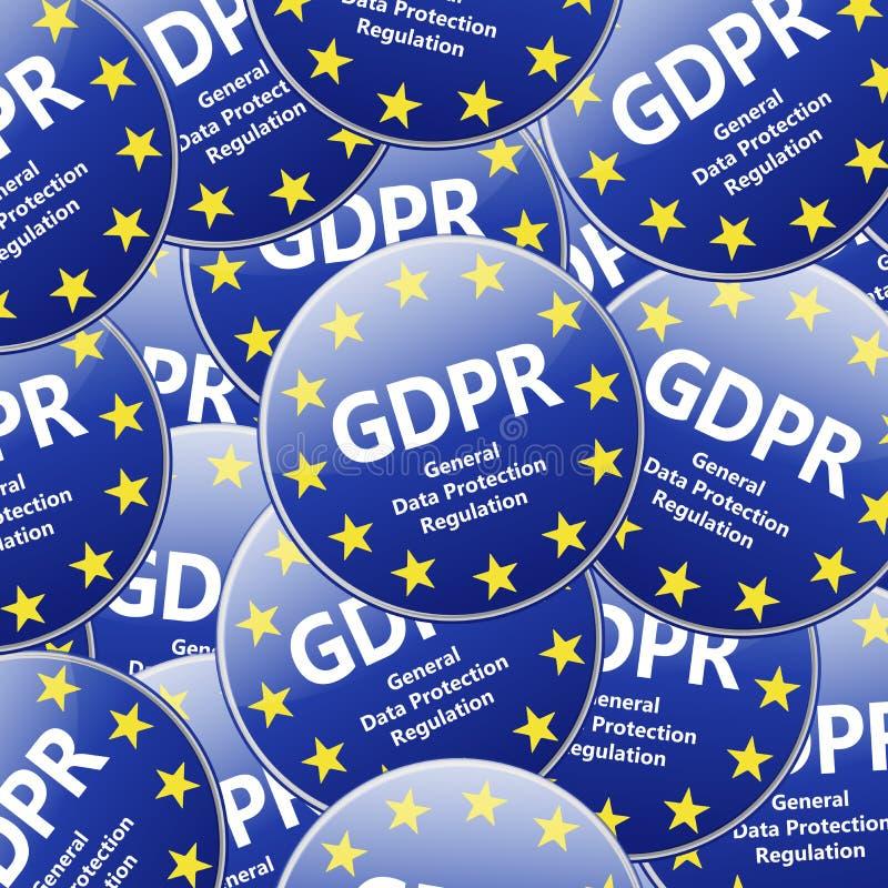 GDPR - Algemene Gegevensbeschermingverordening Veelvoudig teken illustr vector illustratie