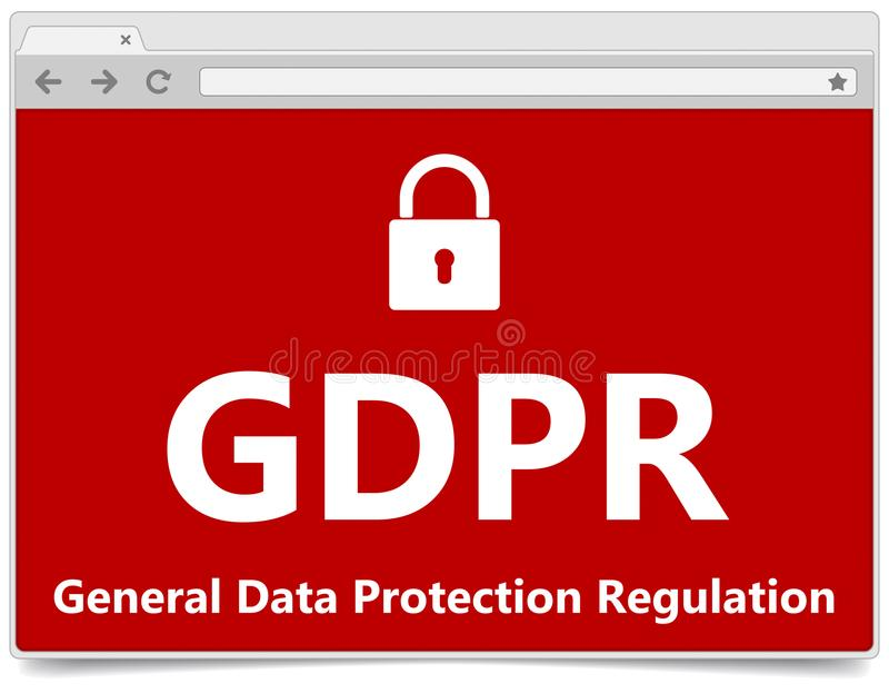 GDPR - Algemene Gegevensbeschermingverordening Webbrowser met padl royalty-vrije illustratie