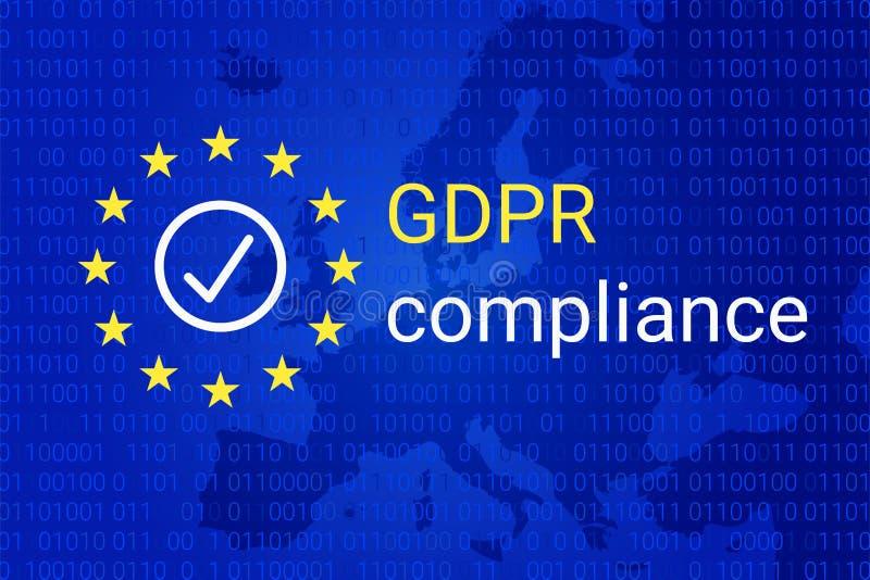 GDPR - Allgemeine Daten-Schutz-Regelung GDPR-Befolgungssymbol Vektor stock abbildung