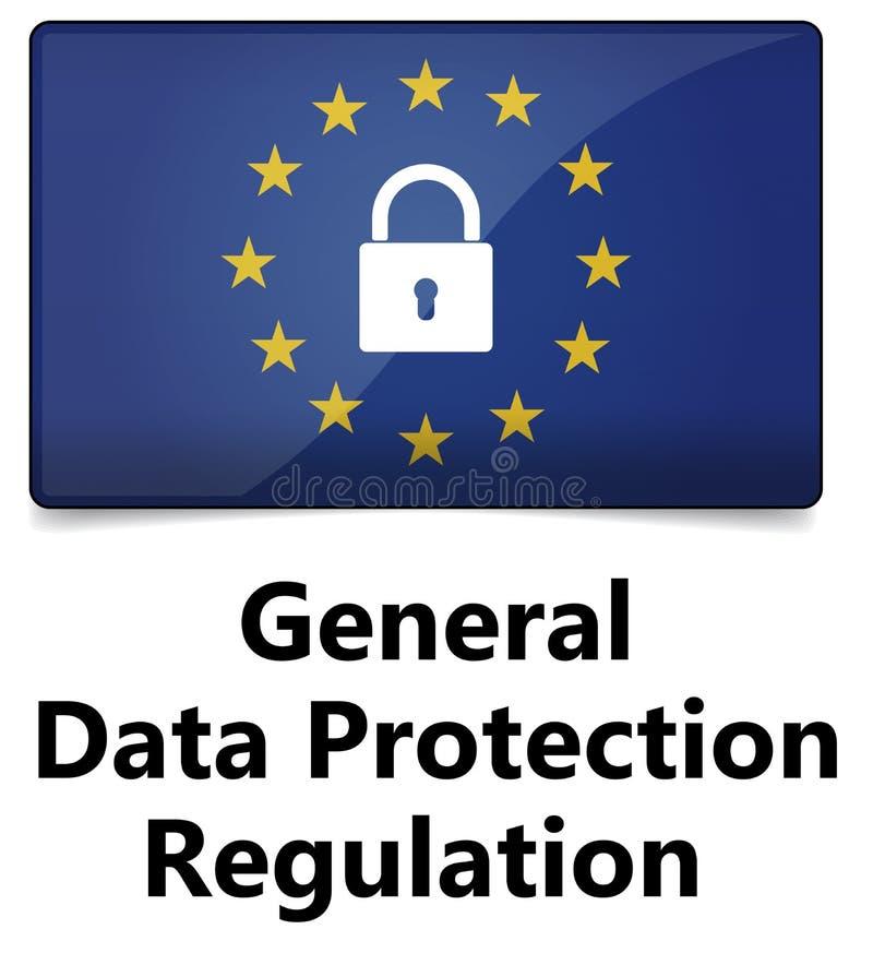GDPR - Allgemeine Daten-Schutz-Regelung EU kennzeichnen mit den Sternen stock abbildung
