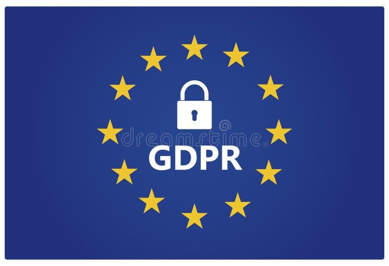 GDPR - Allgemeine Daten-Schutz-Regelung EU kennzeichnen mit den Sternen lizenzfreie abbildung