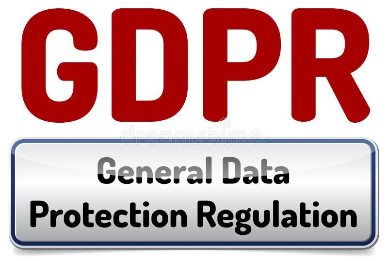 GDPR - Allgemeine Daten-Schutz-Regelung Glatte Fahne mit SH vektor abbildung