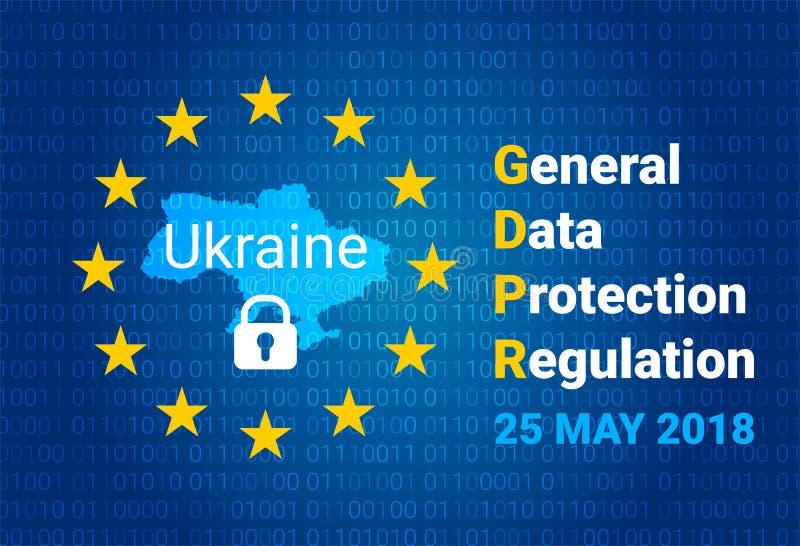 GDPR - Allgemeine Daten-Schutz-Regelung Karte von Ukraine, EU kennzeichnen stock abbildung