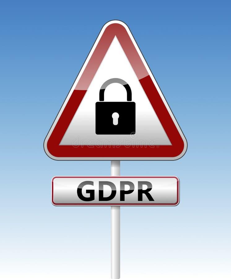 GDPR - Allgemeine Daten-Schutz-Regelung Verkehrszeichen mit Auflage vektor abbildung