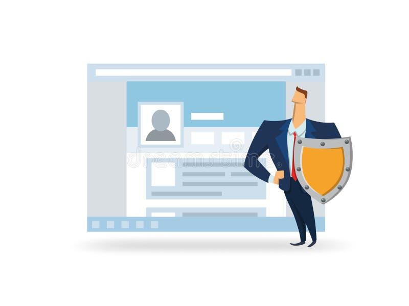 GDPR, AVG, DSGVO, DPO Mann mit dem Schild vor offener Browser Window Schützende Daten GDPR-Offiziers Flacher Vektor lizenzfreie abbildung