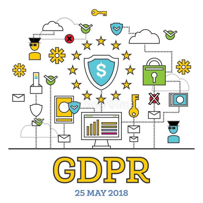 GDPR-begrepp också vektor för coreldrawillustration Skydd för allmänna data Regul stock illustrationer