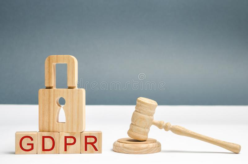 GDPR concept. Data Protection Regulation. Cyber security and privacy. Law on data protection and privacy for all individuals royalty free stock photo