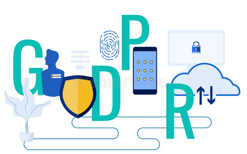 GDPR concept. General Data Protection Regulation for protect the personal data and privacy royalty free illustration