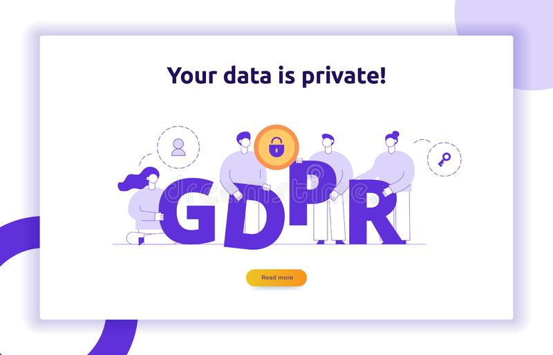 GDPR concept illustration with big modern people, privacy icons, letters. General Data Protection Regulation web banner. stock illustration
