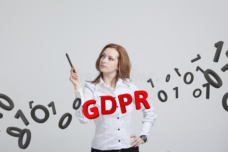 GDPR, concept image. General Data Protection Regulation, the protection of personal data. Young woman working with royalty free stock photos