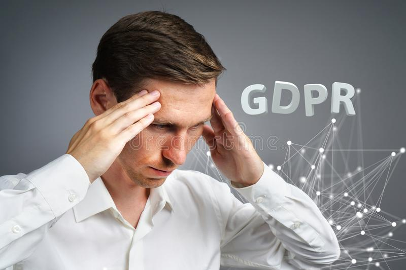 GDPR concept image. General Data Protection Regulation, the protection of personal data in European Union. Young man. GDPR, concept image. General Data royalty free stock images