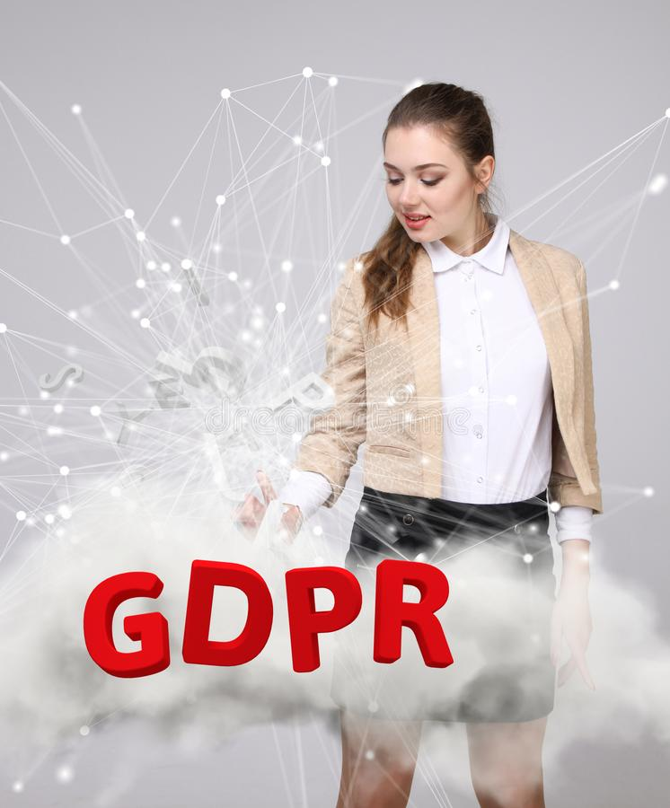 GDPR concept image. General Data Protection Regulation, the protection of personal data. Young woman working with stock image