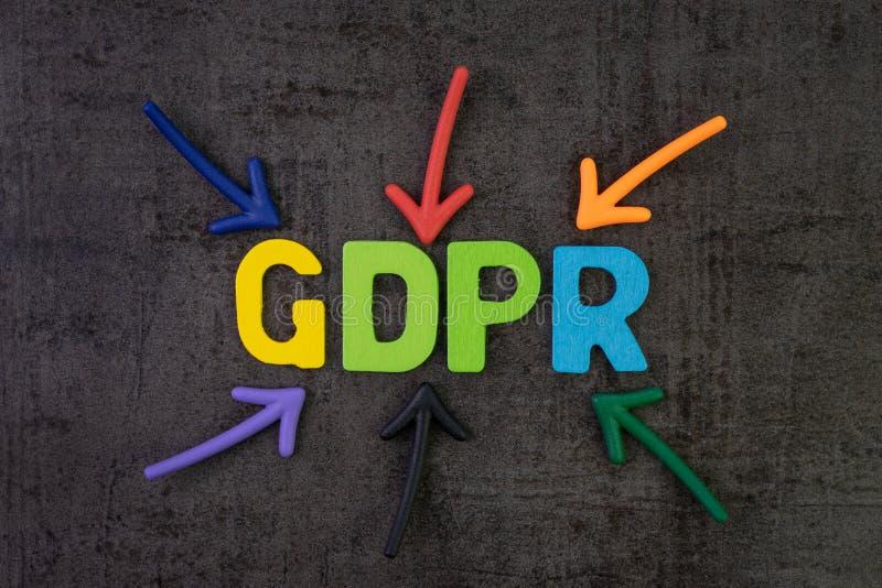 GDPR, concetto generale di regolamento di protezione dei dati, freccia variopinta fotografie stock libere da diritti