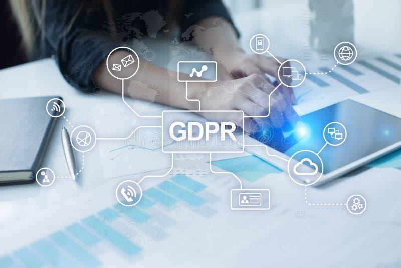 GDPR Conformidad de regla de la protección de datos general, ley de seguridad europea de información imagenes de archivo