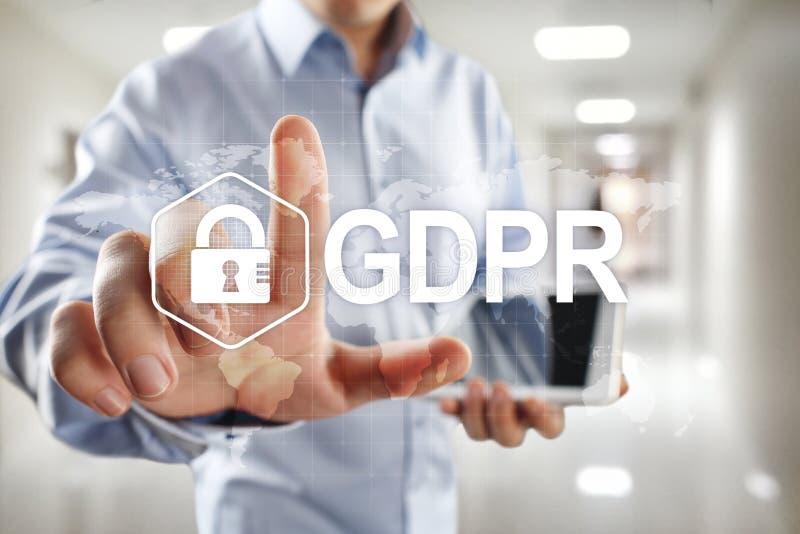 GDPR Conformidad de regla de la protección de datos general, ley de seguridad europea de información foto de archivo