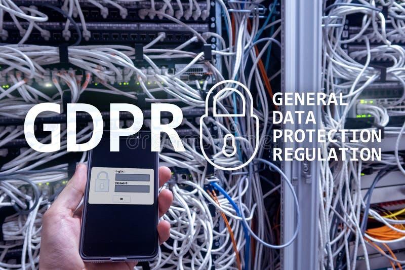 GDPR, conformidad general de la regulación de la protección de datos Fondo del sitio del servidor foto de archivo libre de regalías